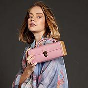 Сумки и аксессуары handmade. Livemaster - original item Summer handbag made of genuine pink leather and wood LADIES ` STEP. Handmade.