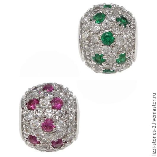 Бусина серебристая с зелеными и розовыми кристаллами(Milano) Евгения (Lizzi-stones-2)