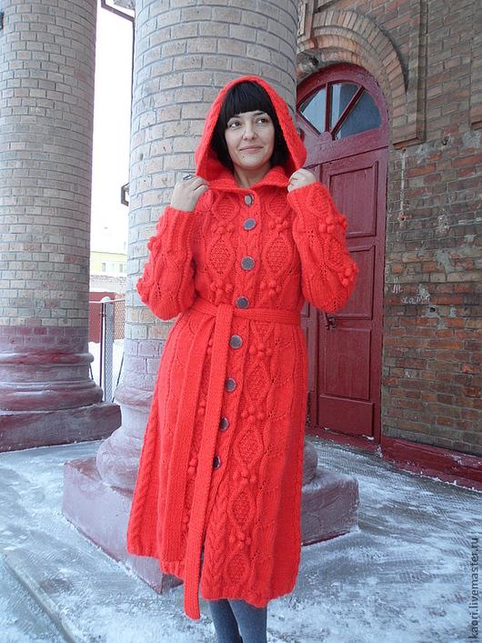 Верхняя одежда ручной работы. Ярмарка Мастеров - ручная работа. Купить вязаное пальто ЛИЛИ. Handmade. Рыжий, пальто женское