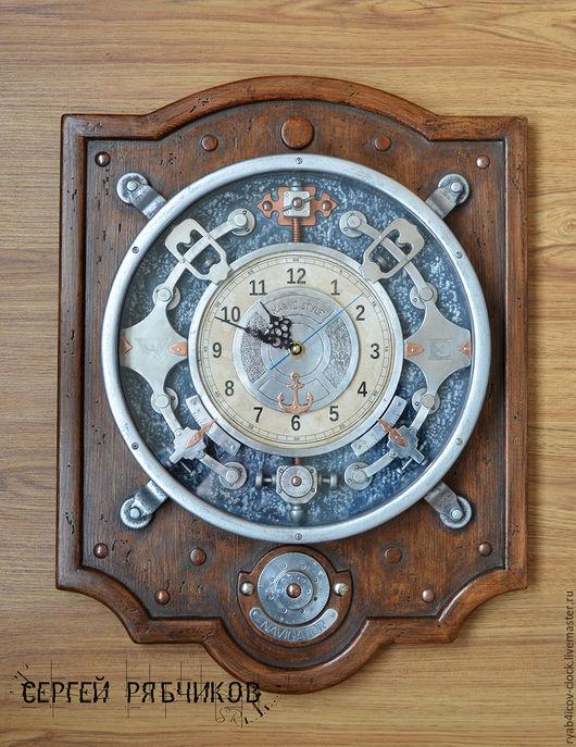Часы для дома ручной работы. Ярмарка Мастеров - ручная работа. Купить «Навигатор» (Морская серия). Handmade. Коричневый, часы для дома