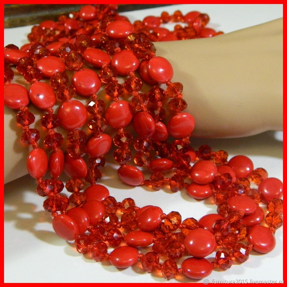 Faceted crystal and coral beads. 10 cm, Beads1, Saratov,  Фото №1