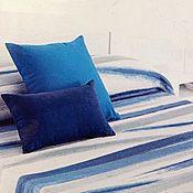 """Для дома и интерьера ручной работы. Ярмарка Мастеров - ручная работа Покрывало разнофактурное двустороннее """"полосы"""", синий. Handmade."""