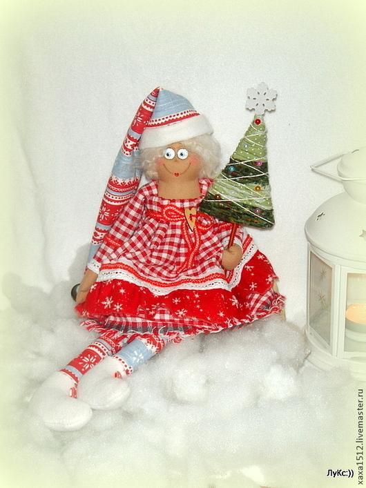 Коллекционные куклы ручной работы. Ярмарка Мастеров - ручная работа. Купить Текстильная кукла гномочка Селеста). Handmade. Ярко-красный
