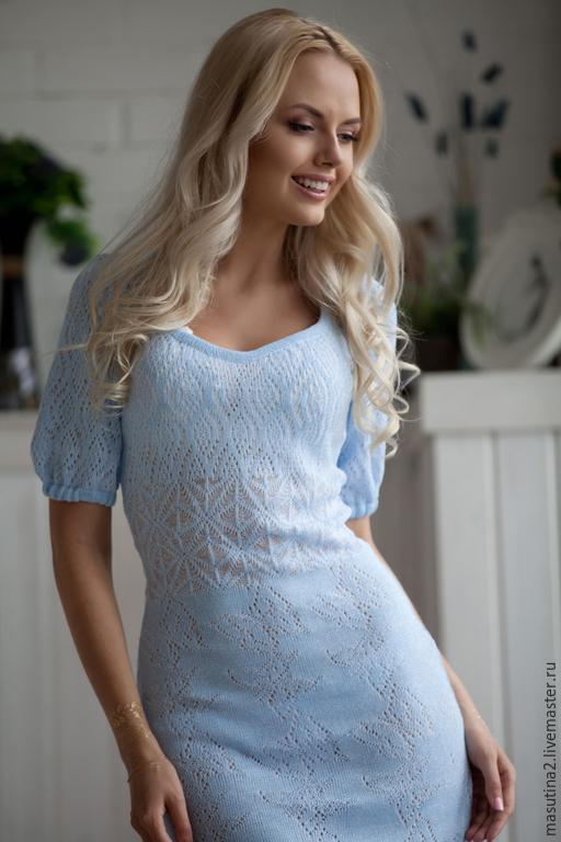 """Платья ручной работы. Ярмарка Мастеров - ручная работа. Купить Платье """"Голубые воды"""". Handmade. Голубой, сшить платье, хлопок"""