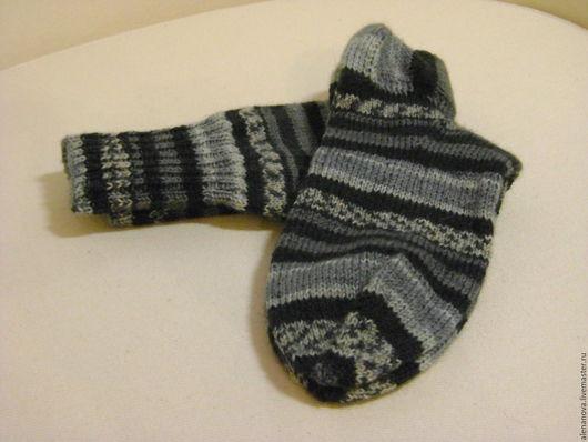 Носки, Чулки ручной работы. Ярмарка Мастеров - ручная работа. Купить Носки серые, благородно-полосатые. Handmade. Носки