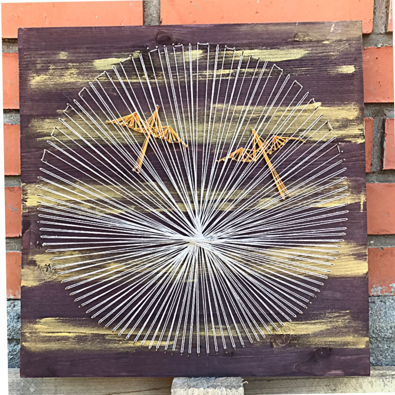 """Абстракция ручной работы. Ярмарка Мастеров - ручная работа. Купить Картина / панно """"птицы"""" в стиле стринг арт. Handmade."""