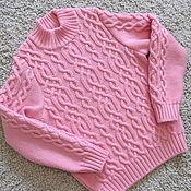 Работы для детей, ручной работы. Ярмарка Мастеров - ручная работа Розовый мериносовый свитер для девочки. Handmade.