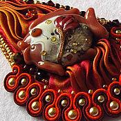 """Украшения ручной работы. Ярмарка Мастеров - ручная работа Кулон с шибори и сутажем """"Капля осени"""". Handmade."""