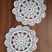 Для дома и интерьера handmade. Livemaster - original item Openwork knitted hook napkin Spider line. Handmade.