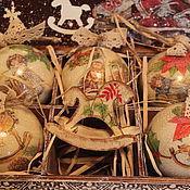 """Подарки к праздникам ручной работы. Ярмарка Мастеров - ручная работа Набор новогодних шаров """"Куклы"""". Handmade."""