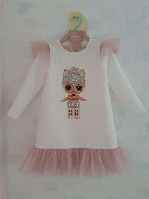 Нарядное платье для девочки с принтом кукла ЛОЛ для фотосессии