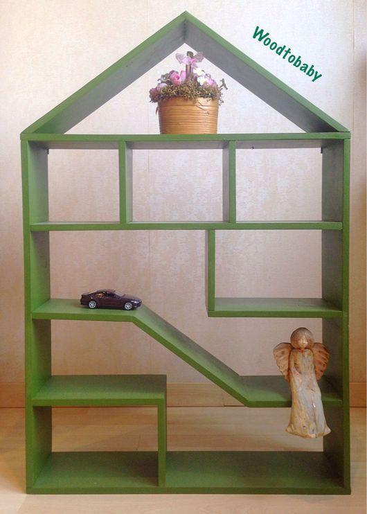 Детская ручной работы. Ярмарка Мастеров - ручная работа. Купить Стеллаж домик. Handmade. Стеллаж, полка из дерева, домик для кукол
