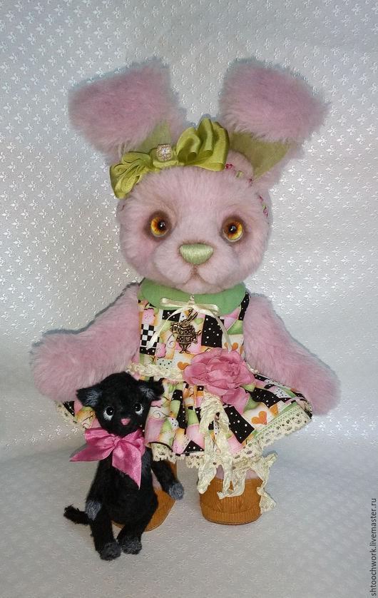 Мишки Тедди ручной работы. Ярмарка Мастеров - ручная работа. Купить Зайка Алиса. Handmade. Розовый, мишка тедди, альпака