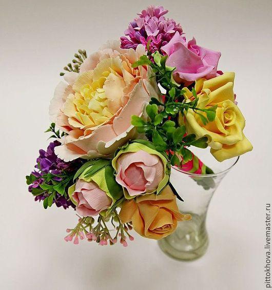 """Цветы ручной работы. Ярмарка Мастеров - ручная работа. Купить Букет цветов из полимерной глины """"Пион и розы"""". Handmade. Пионы"""