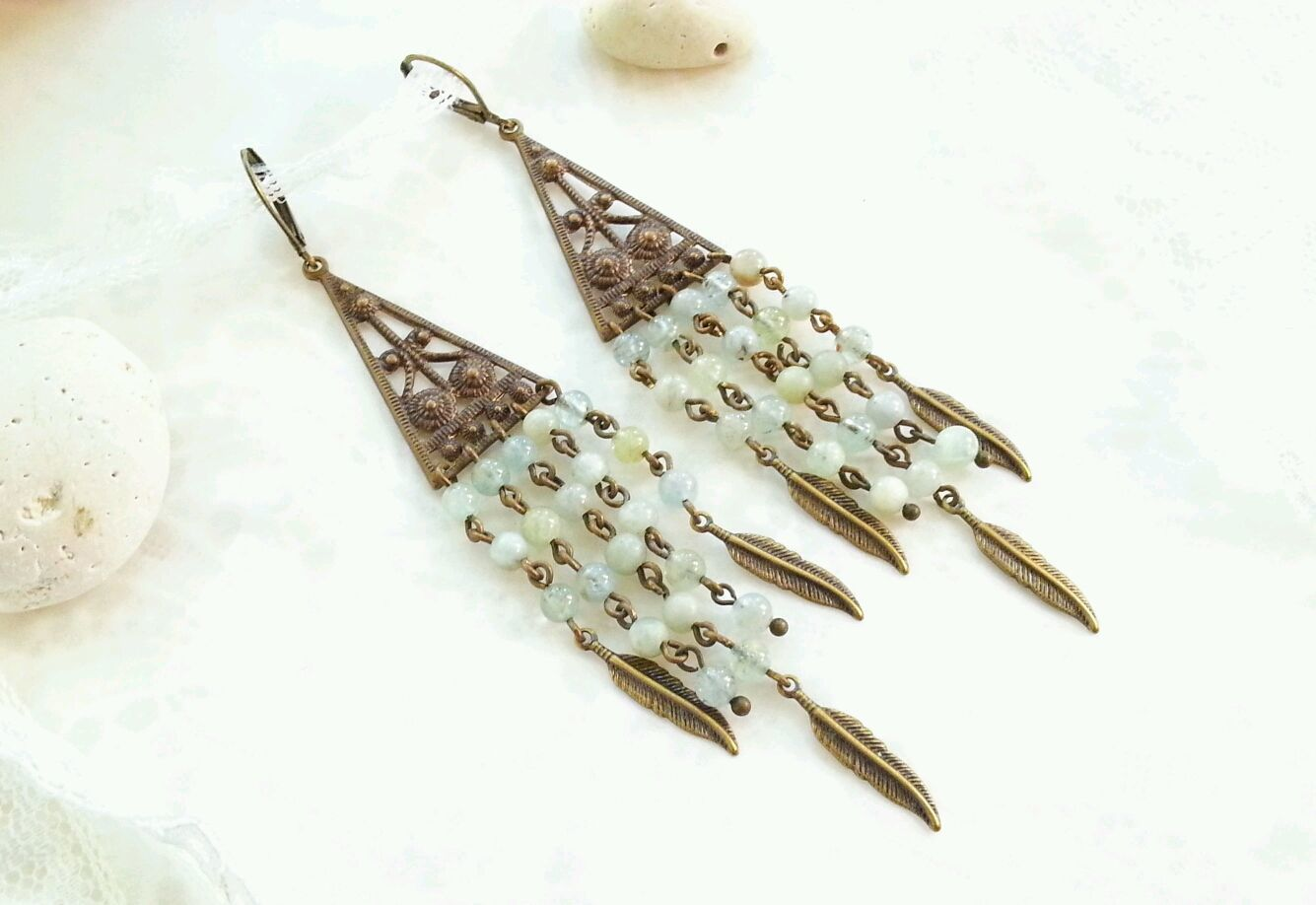 Brooches handmade. Livemaster - handmade. Buy Long earrings in Bohemian style with jade 'Feathers'.Handmade earrings