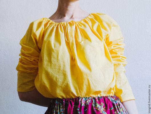 Блузки ручной работы. Ярмарка Мастеров - ручная работа. Купить Сапожковская рубашка Солнышко. Handmade. Однотонный, рубашка женская, блузка