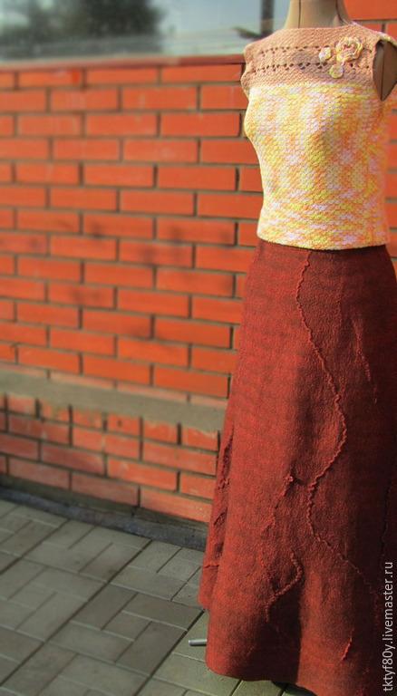 """Юбки ручной работы. Ярмарка Мастеров - ручная работа. Купить Юбка в пол """"Шоколадная крошка"""". Handmade. Коричневый, юбка валяная"""