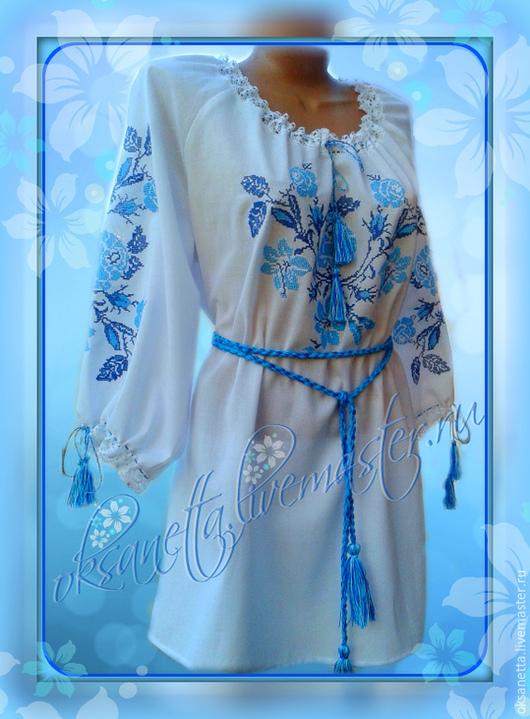 """Блузки ручной работы. Ярмарка Мастеров - ручная работа. Купить Блуза """"Голубые розы"""". Handmade. Орнамент, ручная работа"""