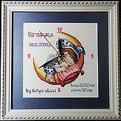 """Для дома и интерьера ручной работы. Ярмарка Мастеров - ручная работа Детская метрика """"Малыш на луне"""". Handmade."""