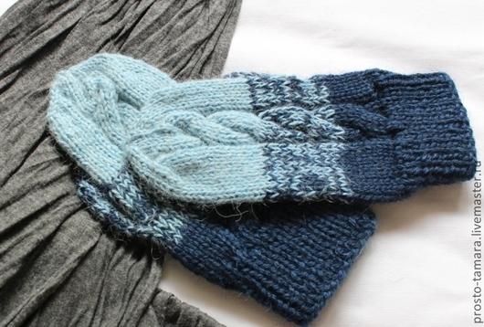 """Варежки, митенки, перчатки ручной работы. Ярмарка Мастеров - ручная работа. Купить Варежки универсальные  """"Трехцветные. Синие."""". Handmade."""