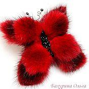 Украшения ручной работы. Ярмарка Мастеров - ручная работа Бабочка из меха норки тёмно-красного цвета. Handmade.