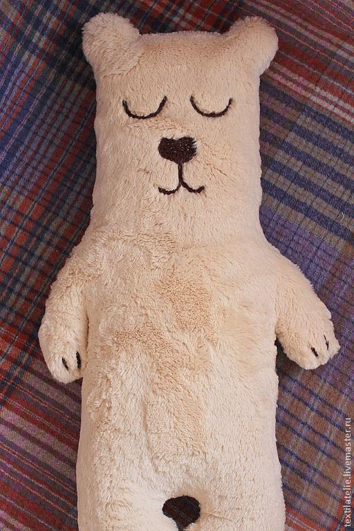 Детская ручной работы. Ярмарка Мастеров - ручная работа. Купить Интерьерная мягкая игрушка-подушка из меха Сонный мишка. Handmade.
