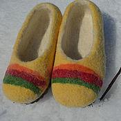 """Обувь ручной работы. Ярмарка Мастеров - ручная работа Детские тапочки """"Радуга"""". Handmade."""
