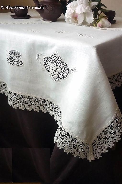 """Текстиль, ковры ручной работы. Ярмарка Мастеров - ручная работа. Купить Льняной столовый комплект """"Чаепитие"""" 3 предмета. Handmade."""