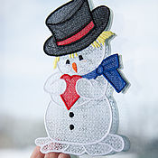 Подарки к праздникам handmade. Livemaster - original item The decoration on the window, Snowman. Handmade.