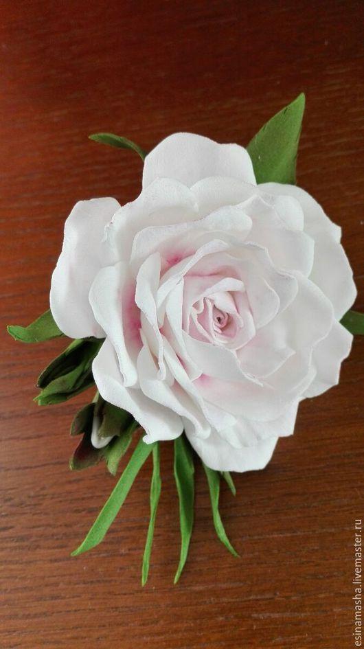 Броши ручной работы. Ярмарка Мастеров - ручная работа. Купить белая роза. Handmade. Белый, фомиран брошь, фомиран