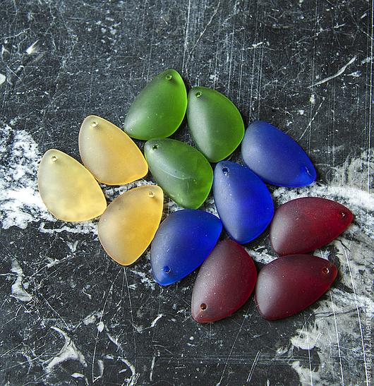 Для украшений ручной работы. Ярмарка Мастеров - ручная работа. Купить Плоские стеклянные бусины-капли, Индонезия. Handmade. Бусины