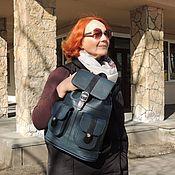 Сумки и аксессуары handmade. Livemaster - original item Leather backpack blue female Eureka Mod P12-161-1. Handmade.