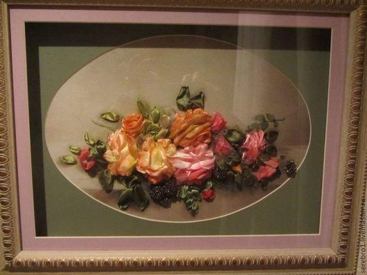 Картины цветов ручной работы. Ярмарка Мастеров - ручная работа. Купить Розы в овале. Handmade. Разноцветный, картина с цветами, принт
