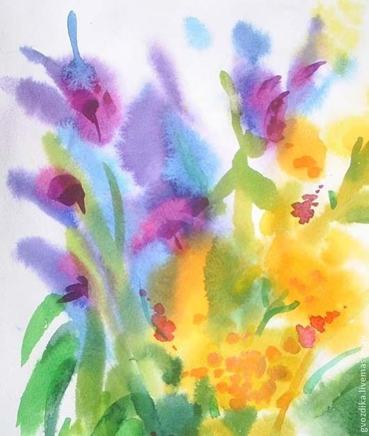 Картины цветов ручной работы. Ярмарка Мастеров - ручная работа. Купить Полевые цветы.. Handmade. Разноцветный, полевые цветы, солнце