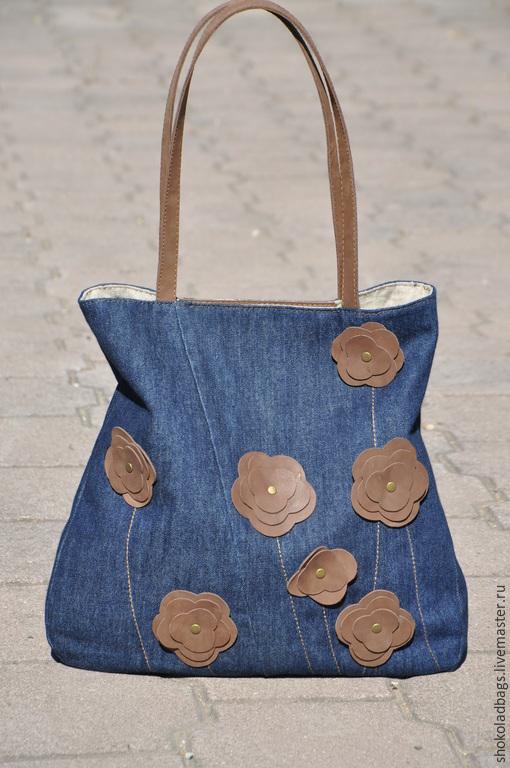 """Женские сумки ручной работы. Ярмарка Мастеров - ручная работа. Купить Джинсовая сумка с кожей """" Подружка ковбоя"""" .Участвует в аукционе.. Handmade."""