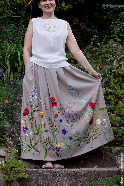 Юбки ручной работы. Ярмарка Мастеров - ручная работа. Купить Длинная юбка в пол с вышивкой. Handmade. Юбка