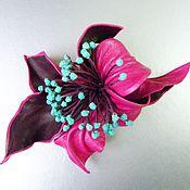 Украшения handmade. Livemaster - original item Brooch flower leather