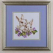 """Картины и панно ручной работы. Ярмарка Мастеров - ручная работа Вышитая картина """"Братья-зайчата"""" (вышивка крестом, картина в детскую). Handmade."""