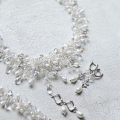 Свадебный салон handmade. Livemaster - original item Wedding set necklace, bracelet and earrings handmade with pearls. Handmade.