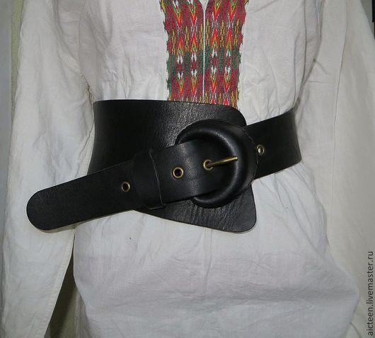 Пояса, ремни ручной работы. Ярмарка Мастеров - ручная работа. Купить Асимметричный женский кожаный пояс с кожаной пряжкой ручной работы №1. Handmade.