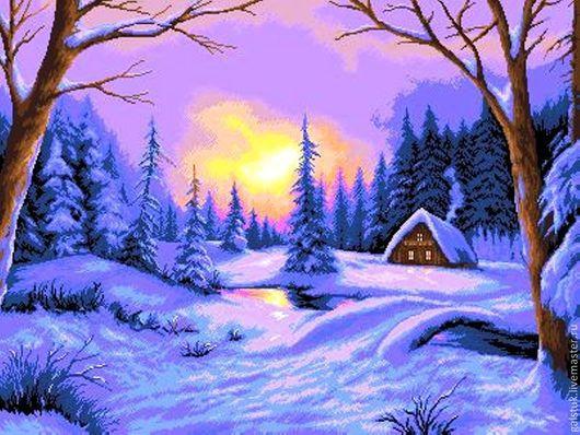 Схема вышивки бисером `Зимний закат` с полной зашивкой