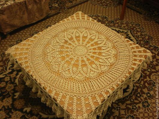 Текстиль, ковры ручной работы. Ярмарка Мастеров - ручная работа. Купить Скатерть  крючком. Handmade. Кремовый, мерсеризованный хлопок