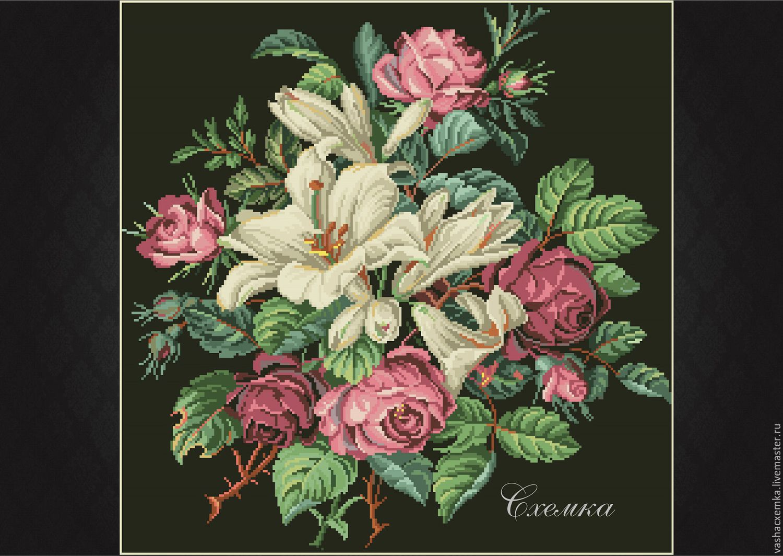 Схема вышивки розы и лилии