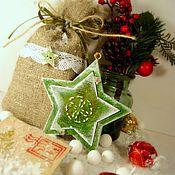 Подарки к праздникам ручной работы. Ярмарка Мастеров - ручная работа Набор новогодний зелёный: фоторамка, мешочек, конверт. Handmade.