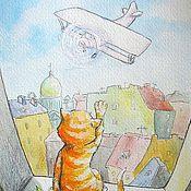 Для дома и интерьера ручной работы. Ярмарка Мастеров - ручная работа Кот самолет и весна Принт. Handmade.
