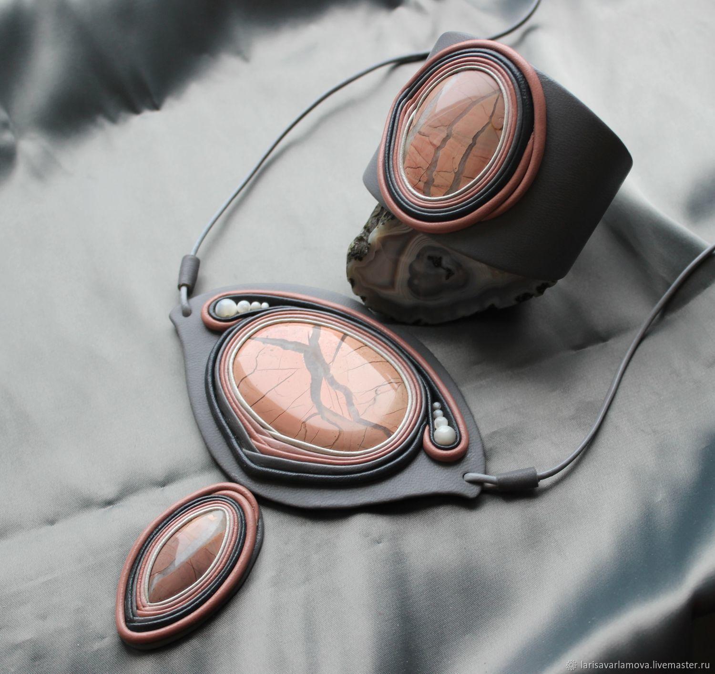 """Комплект """"Морозное утро"""". Украшение из кожи и камня, Jewelry Sets, Velikiy Novgorod,  Фото №1"""