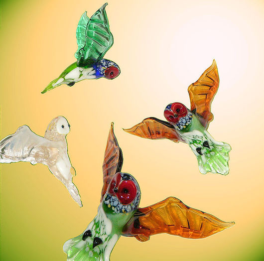 Новый год 2017 ручной работы. Ярмарка Мастеров - ручная работа. Купить Интерьерное стеклянное украшение  -   птица Сова. Handmade. Сова