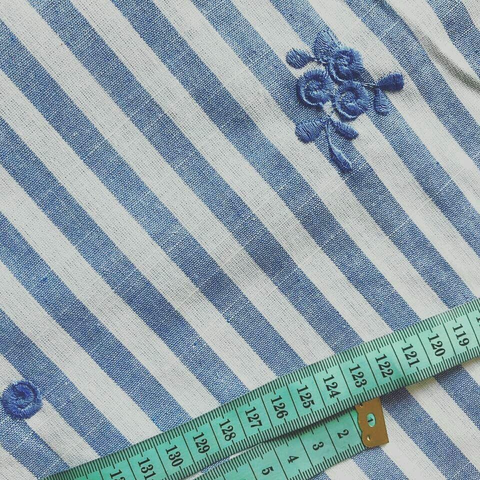 Ткань хлопок со льном  вышитый голубая полоска, Ткани, Москва,  Фото №1