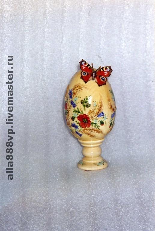 Подарки на Пасху ручной работы. Ярмарка Мастеров - ручная работа. Купить Пасхальное яйцо липовое Павлиний глаз. Handmade. цветы
