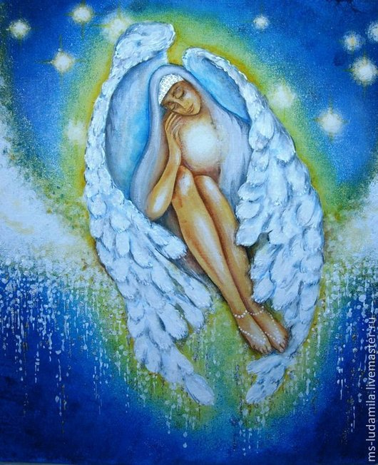 Картина из серии `Ангелы заоблачного неба` Картина вместе с рамой.
